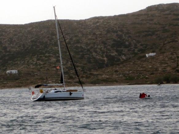 Skipper-im-Dinghy